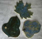 Leaves in shades of blue. $10 each.
